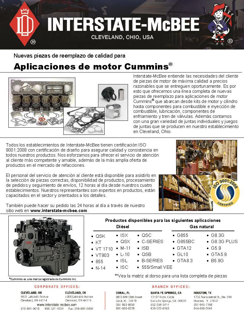 Cummins Engine Applications Spanish