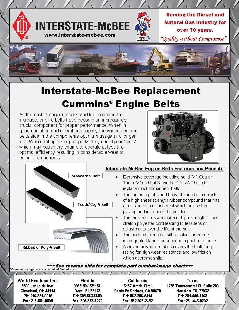 Interstate-McBee Replacement Cummins Engine Belt