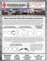 Diesel Particulate Filter (DPF) Assembly Components