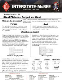Interstate-McBee Steel Pistons - Forged vs. Cast