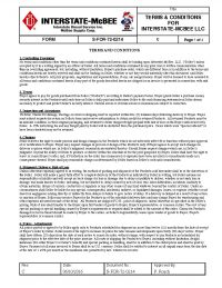Interstate-McBee Terms and Conditions