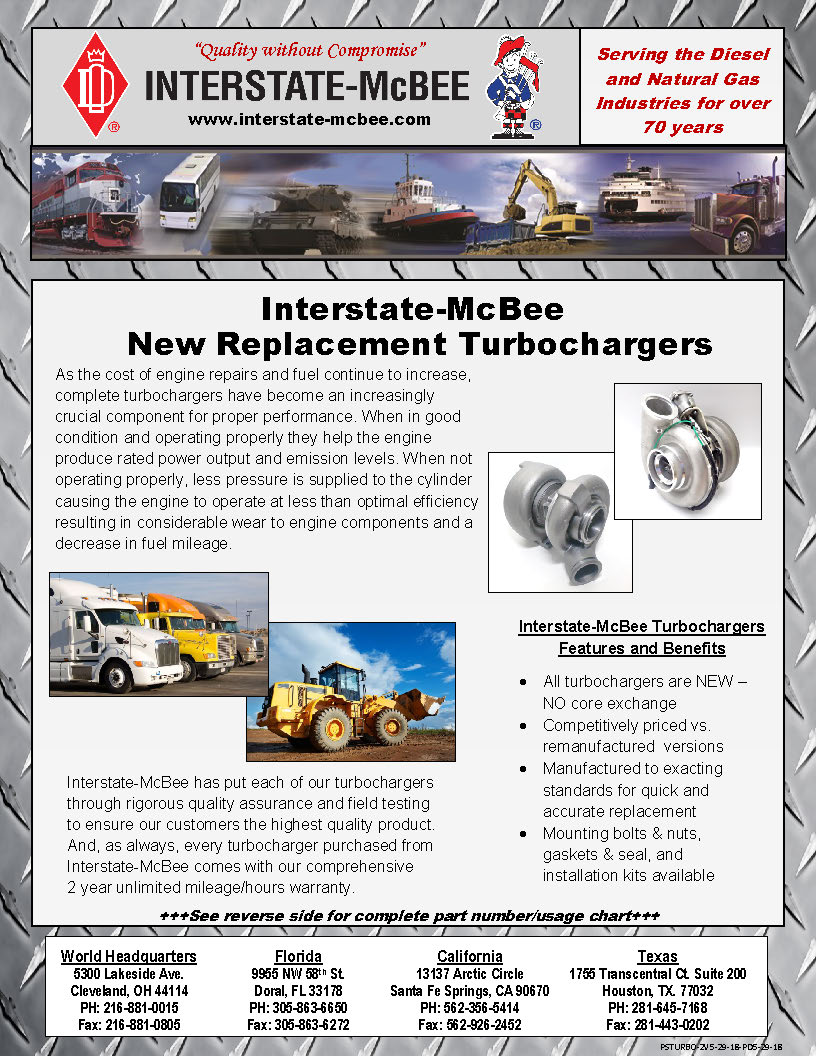 Interstate-McBee New Replacement Turbochargers